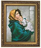 Gerffert Collection Madonna of the Streets Framed Portrait Print, 13 Inch (Ornate Gold Tone Finish Frame)