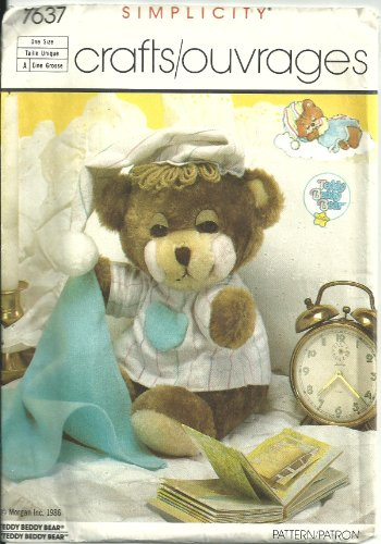 Simplicity Crafts Pattern 7637 Teddy Bear Bear, Nightshirt, Cap and Blanket, One Size -