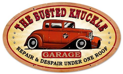 Busted Knuckle Garage BUST022 Oval Hotrod Metal Shop Sign Knuckle Garage Metal Sign