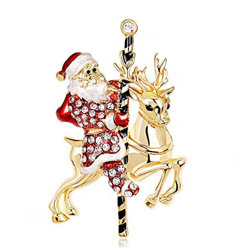 [Women Men Crystal Reindeer and Santa Claus Costume Shirt Decor Brooch Pin Broach Family Friend Gift] (Mom Dad And Child Halloween Costumes)