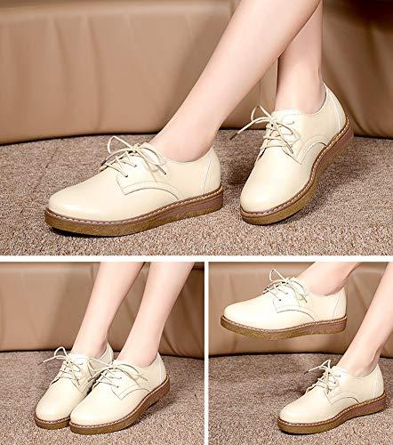 En Zapatos Deporte Y Mujer Punta Janes Correr Zapatillas Para De Oxford Oficina Bota Zapato Mujer Yxx Plano zapatos Con Redonda Cordones Beige Mary Casa zxfH8T