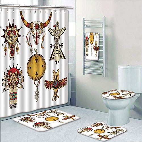 Bathroom Fashion 5 Piece Set shower curtain 3d print,Ethnic,Native American Tribes Animal Totems Collection Ancient Cultures Sketch Decorative,Pale Coffee Amber White,Bath Mat,Bathroom Carpet Rug,Non-