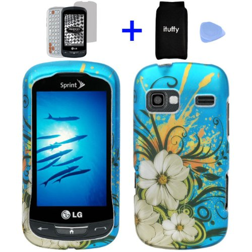 4-items-Combo-Accessories-Pouch-Screen-Protector-Film-Case-Opener-Graphic-Case-Blue-Hawaiian-White-Flower-Green-Vine-Design-Rubberized-Snap-on-Hard-Cover-Protector-Shell-Faceplate-Skin-Case-for-Sprint