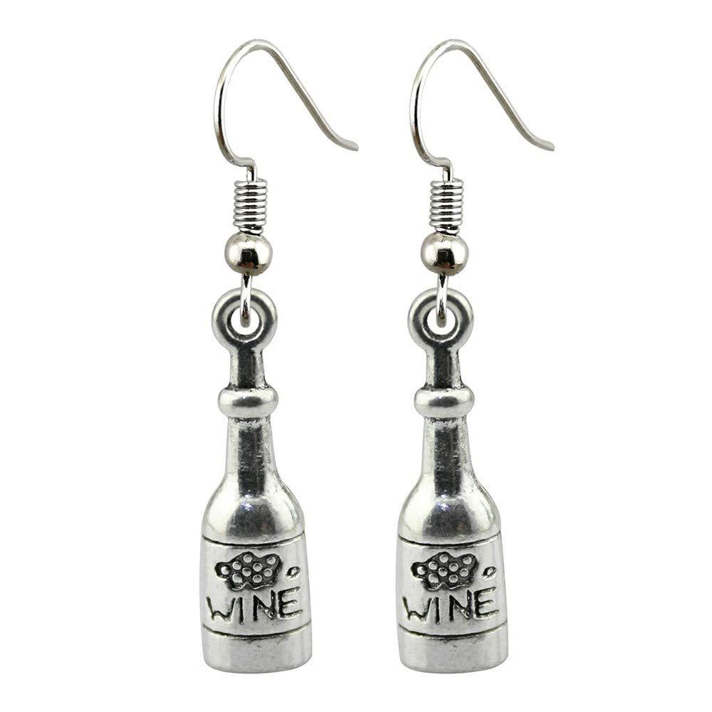 WYSIWYG 3 Pairs Drop Earrings Earrings for Girls 3D Wine Bottle 28x8mm with Earring Backs Stopper