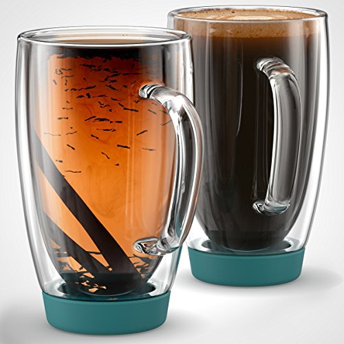 Stone & Mill Set of 2 Large Double Walled Insulated Non Slip Glass Coffee Mugs, Silicone Bottom, Thermo Glassware, Gift-boxed - AM-13-SB (Turquoise) 15 ounce by Stone & Mill Homewares (Image #2)