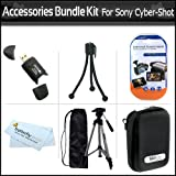 Accessories Bundle Kit For Sony Cyber-Shot DSC-TX10 DSC-W510 DSC-W530 DSC-W570 DSC-WX9 DSC-T110 Digital Camera Includes 50'' Full Tripod + Hard Case + USB 2.0 High Speed Card Reader + LCD Screen Protectors + Mini Tabletop Tripod + MicroFiber Cleaning Cloth