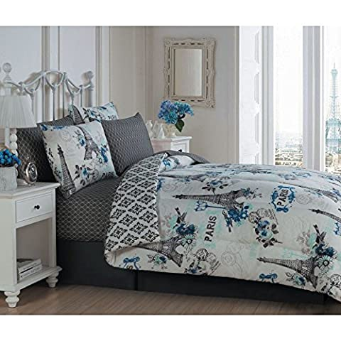 8 Piece Girls Paris Love Themed Comforter Set Queen Size, All Over Medallion Eiffel Tower Reversible Bedding, Multi Flowers France Inspired, Damask Patchwork Background Pattern, Vibrant Colors Blue