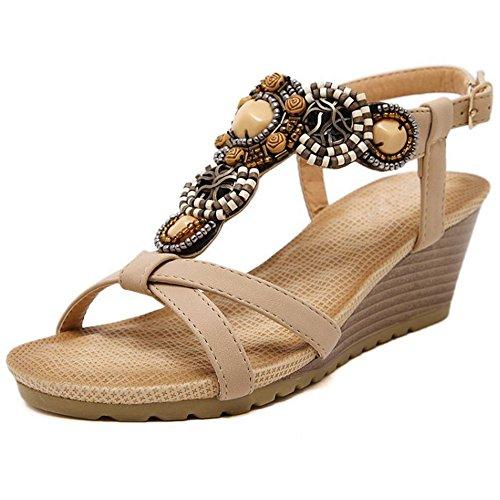 COOLCEPT Mujer Moda Correa en T Sandalias Punta Abierta Tacon de Cuna Slingback Zapatos Albaricoque