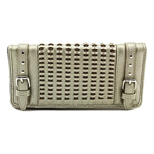 Style & Co Women's Ellie Large Woven Flap Credit Card Clutch Wallet (Silver) ()