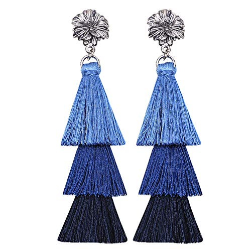 Ronglai Jewelry Earrings for Women Colorful Layered Tassel Earrings Bohemian Dangle Drop Tiered Tassel Druzy Stud Earrings Women Gifts (Tassel Blue)