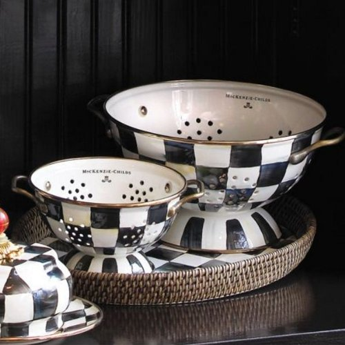 MacKenzie-Childs Courtly Check Enamel Colander Small