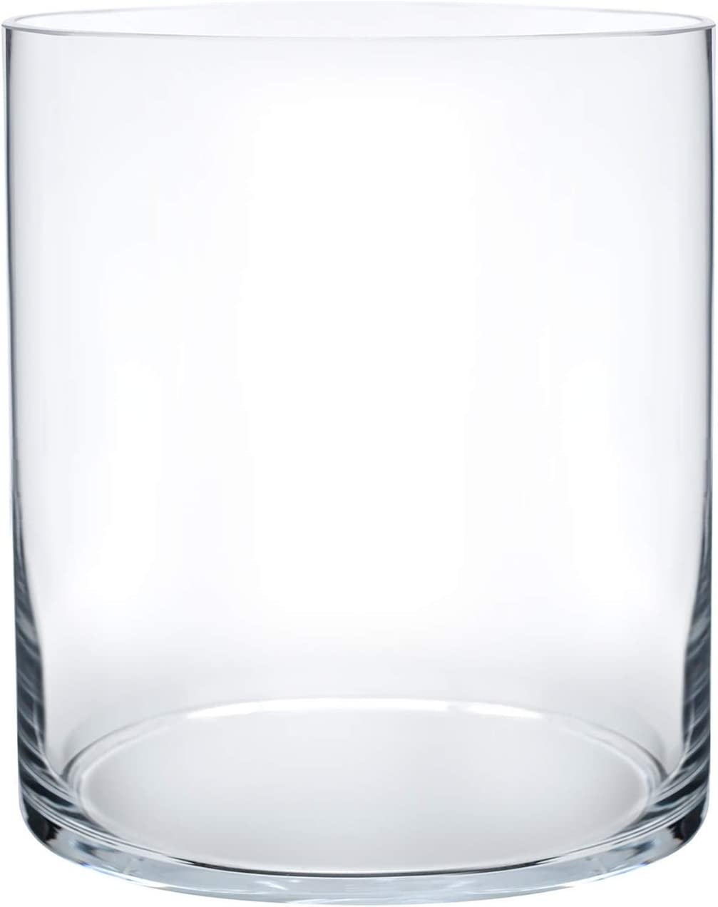 """Royal Imports Flower Glass Vase Decorative Centerpiece for Home or Wedding Cylinder Shape, 8"""" Tall, 6"""" Opening, Clear"""