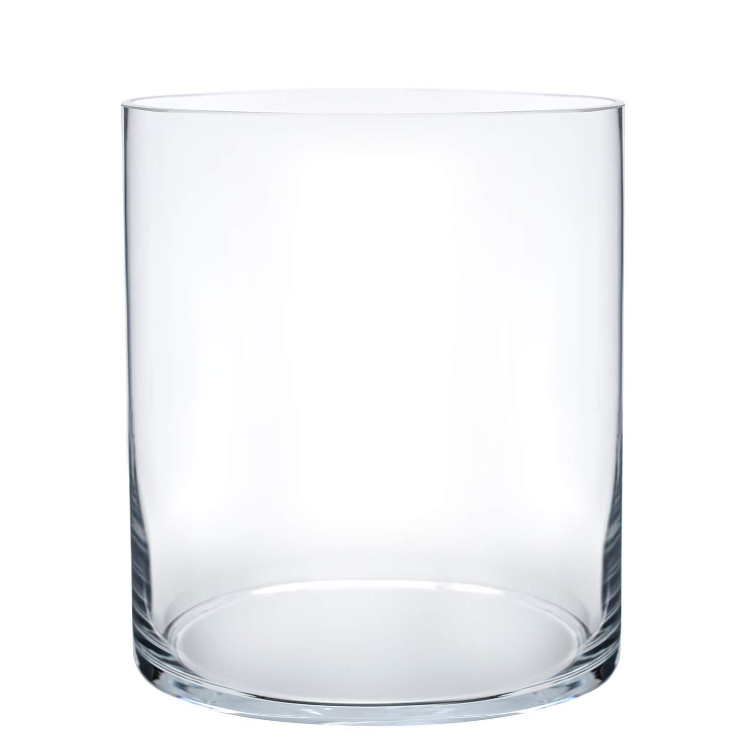 Royal Imports Flower Glass Vase Decorative Centerpiece for Home or Wedding Cylinder Shape, 8'' Tall, 6'' Opening, Clear