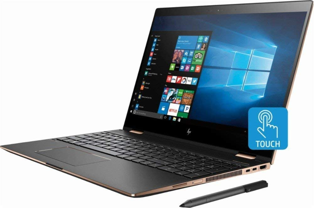 "HP Spectre x360 15t Convertible 2-in-1 Laptop in Dark Ash Silver (8th Gen Intel i7-8550U, 32GB RAM, 1TB SSD, Nvidia Geforce MX150, 15.6"" 4K UHD 3840x2160 Touchscreen, Stylus Pen, Win 10 Pro)"