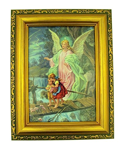 Italian Lithograph Guardian Angel Print in Antique Gold Tone Frame with Glass, 6 1/2 -