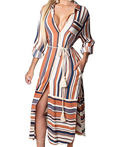 (FANCYINN Womens Button Down Long Shirt Dress Striped Roll up Sleeve Side Split Dresses M)