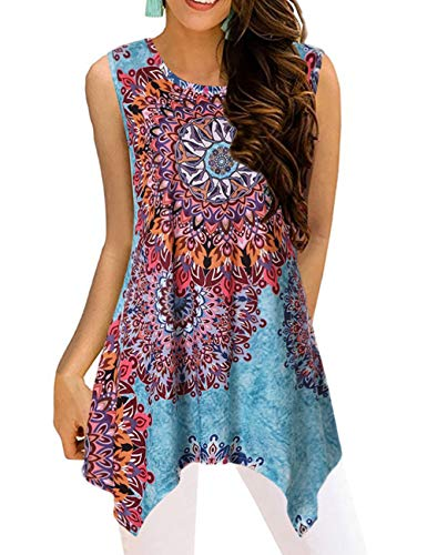 Cami Paisley - Paisley Tops for Women Sleeveless Blouse Scoop Neck Patterned Print Tunic Length Tank Flowy Dressy Form Fitting Shirts Knit Vacation Holiday Outfits