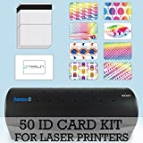 50 ID Card Kit - Laminator, Laser Teslin, Butterfly Pouches, and Holograms - Make PVC Like ID Cards