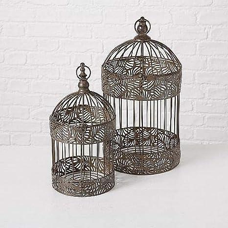 Set de 2 Jaulas Pájaros Decoración Jardín Hogar de Metal con ...
