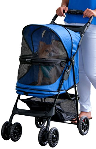 Pet Gear No-Zip Happy Trails Pet Stroller, Zipperless Entry, Sapphire by Pet Gear