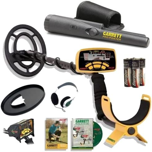 Garrett Ace 250 Metal Detector Discovery Pack with Pro Pointer, 6.5x9 Coil, Coil Cover, Headphones, Rain Cover