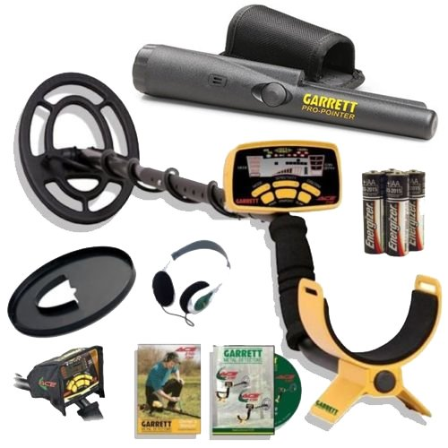 Garrett Ace 250 Metal Detector Discovery Pack with Pro Pointer, 6.5×9 Coil, Coil Cover, Headphones, Rain Cover