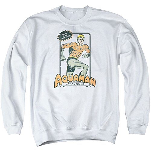 Trevco Dc-Am Action Figure - Adult Sweat Tee Crew - White, Extra Large