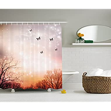 Ambesonne Fantasy Decor Collection, Dreamy Butterflies and Over Trees Romantic Sky Artistic Design, Polyester Fabric Bathroom Shower Curtain Set with Hooks, 75 Inches Long, Peach Light Purple