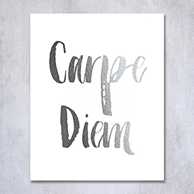 Carpe Diem Silver Foil Print Small Poster Wall Art Print Seize The Day Inspirational Motivational Quote Silver Decor 5 inches x 7 inches B9