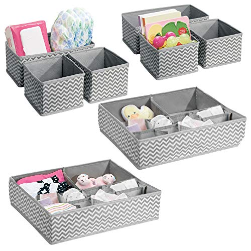 mDesign Chevron Fabric Baby Nursery Closet Organizers for Clothing, Diapers, Wipes, Lotion, Medicine - Set of 8, Gray/Cream