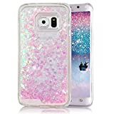 Galaxy S6 Edge Plus Case, Crazy Panda® Samsung Galaxy S6 Edge Plus 3D Creative Design Flowing Liquid Floating Bling Glitter Sparkle Star Love Crystal Clear Case Cover for S6 Edge Plus - Pink Love