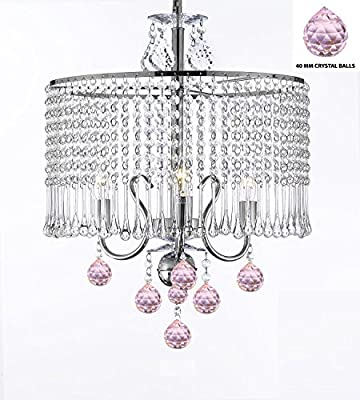 "Contemporary 3-light Crystal Chandelier Chandeliers Lighting With Crystal Shade and Pink Crystal Balls! W 16"" x H 21"" SWAG PLUG IN-CHANDELIER W/ 14' FEET OF HANGING CHAIN AND WIRE!"