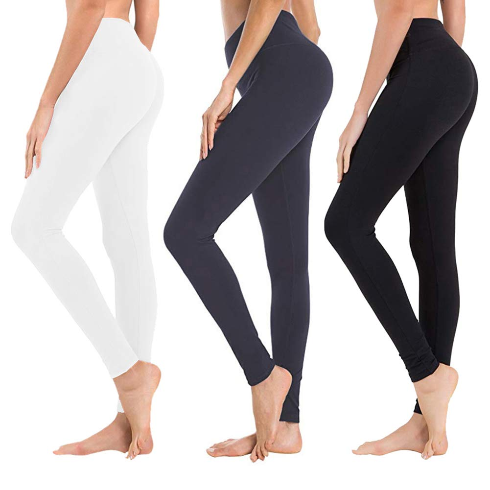High Waisted Leggings for Women - Soft Athletic Tummy Control Pants for Running Cycling Yoga Workout - Reg & Plus Size (3 Pack Black, Navy Blue, White, Extra Size (US 24-32)) by SYRINX