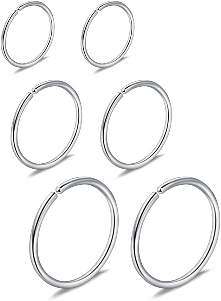 Ruifan 6PCS Mix Size Stainless Steel Clip on Fake Nose Lip Helix Cartilage Tragus Ear Hoop Ring 22G 6mm/8mm/10mm