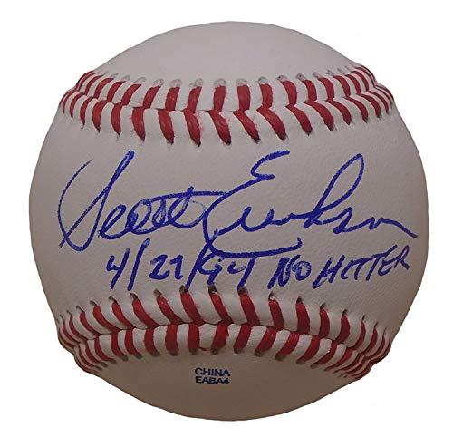 Minnesota Twins Scott Erickson Autographed Hand Signed Baseball with No-Hitter Inscription and Proof Photo of Signing, Baltimore Orioles, New York Yankees, Texas Rangers, NY Mets, COA