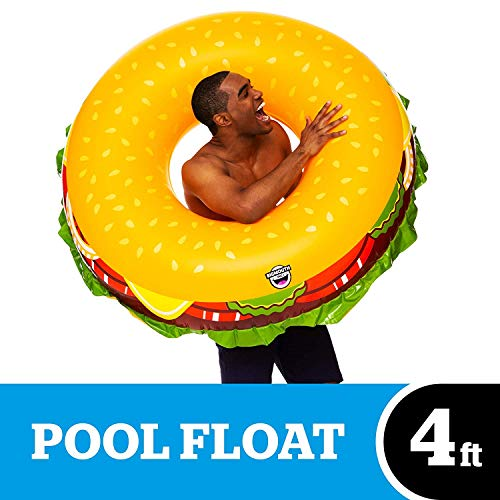 BigMouth Inc. Cheeseburger Pool Float, Thick Vinyl Raft, 4ft Wide, Holds 200 Pounds and Includes Patch Kit 48: x -