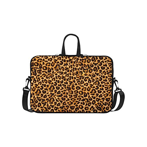 InterestPrint Leopard Animal Print Laptop Sleeve Case Bag, Tiger Shoulder Strap Laptop Sleeve Notebook Computer Bag 15-15.6 Inch for Macbook Pro Air Dell HP Lenovo Thinkpad Acer Ultrabook