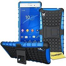 Sony Xperia M4 Aqua Case, FoneExpert® Heavy Duty Rugged Impact Armor Hybrid Kickstand Protective Cover Case For Sony Xperia M4 Aqua + Screen Protector & Cloth (Blue)