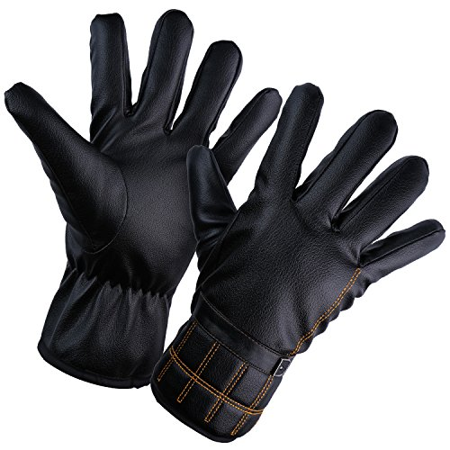 YQXCC Mens Winter Gloves Touch Screen Windproof Outdoor Cycling Sports Gloves, Warm Fleece Lined leather gloves