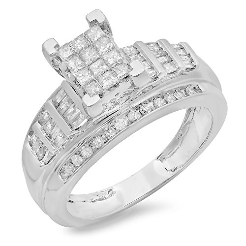 Dazzlingrock Collection 0.90 Carat (ctw) 10K Princess, Round & Baguettes Cut Diamond Ladies Bridal Engagement Ring, White Gold ()