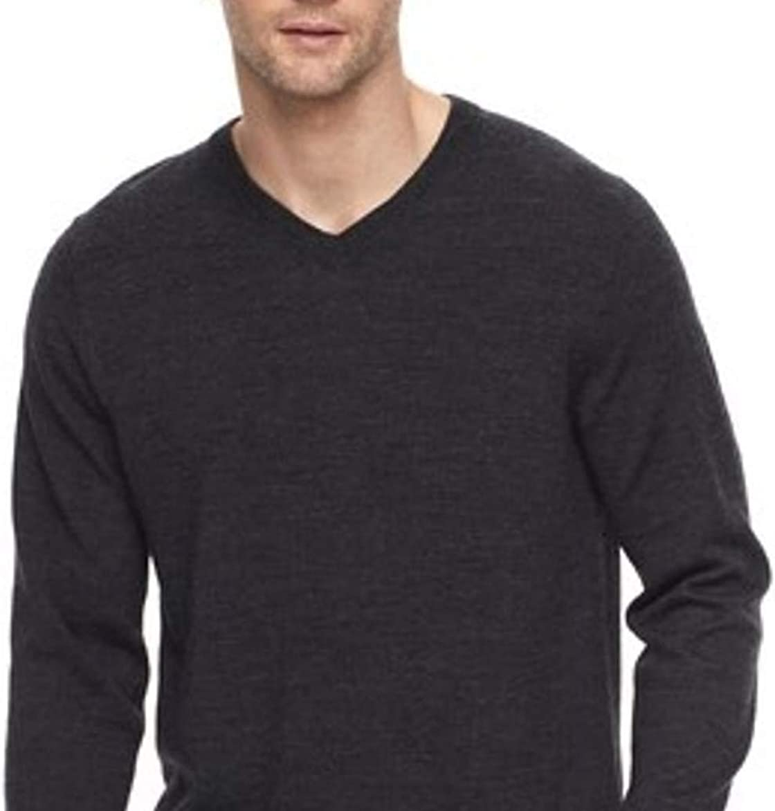 Liz Claiborne Apt 9 Mens Classic Fit Merino Wool Blend V-Neck Sweater Charcoal