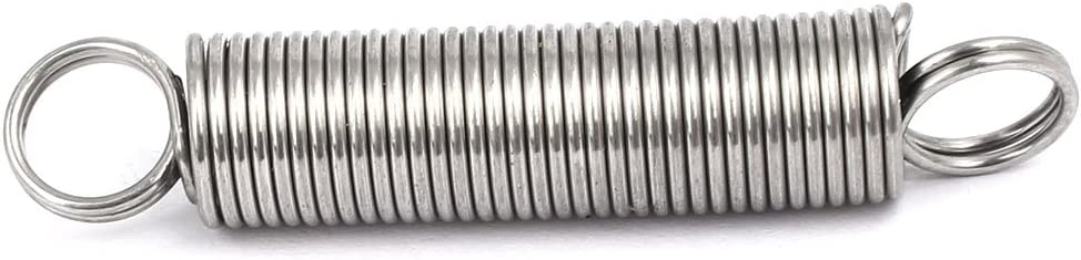 sourcingmap/® 0.3Mmx3mmx15mm Muelles tensores de acero inoxidable 304 tono Plata 10pcs