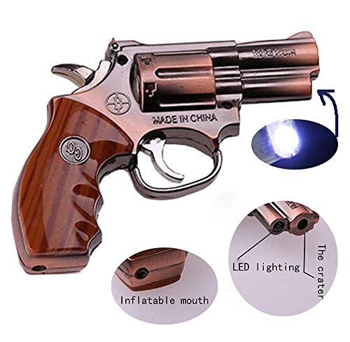 (Fangfeng Windproof Lighter LED Reel Torch can be Adjusted by Flame Size Inflatable Butane Cigar Lighter (912# Copper))