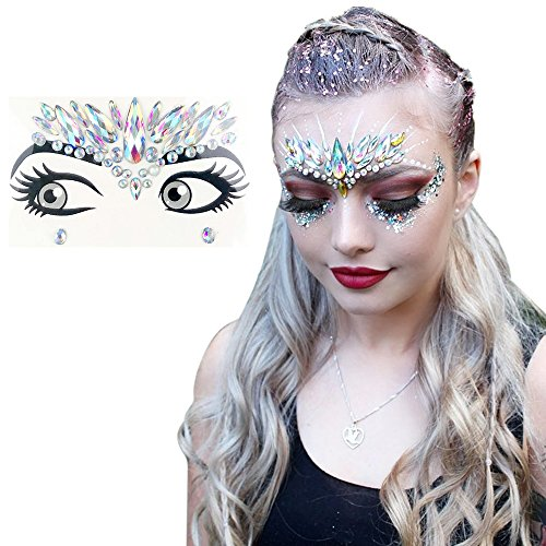 Rave Festival Face Jewels Stick On Crystals Unicorn
