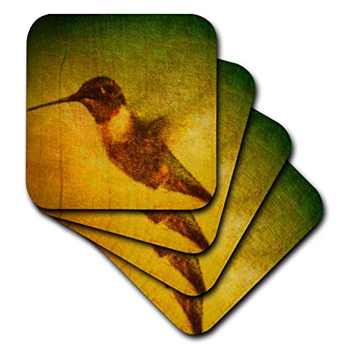 (3dRose WhiteOaks Photography and Art - Layered Effect - Hummingbird Melody - set of 4 Ceramic Tile Coasters (cst_181148_3))
