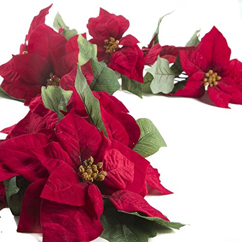 Factory Direct Craft® Elegant Red Velvet Artificial Poinsettia Garland for Holiday and Home Decor