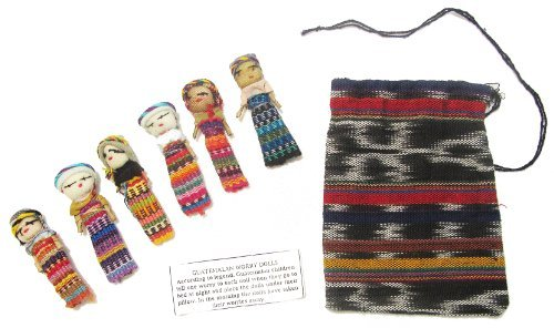 - Six Large Worry Dolls with Pouch