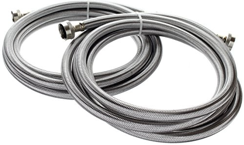 Kelaro 10 Foot Stainless Steel Washing Machine Hoses (2 Pack) Burst Proof, Lead Free ()