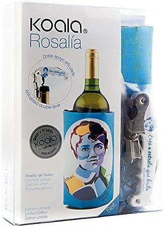 Koala Internacional Hosteleria Rosalía De Castro Set de Manga Enfriadora y Sacacorchos, Plástico y Poliéster, Azul, 15x4x19 cm, 2 Unidades