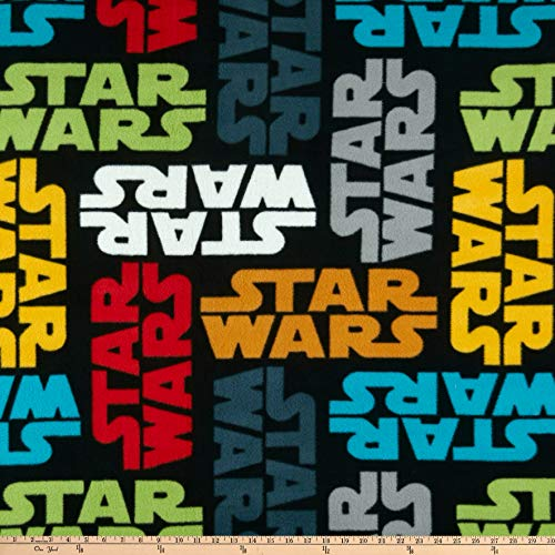 Camelot Fabrics Star Wars Tossed Logo Fleece Fabric, Multicolor, Fabric By The Yard ()